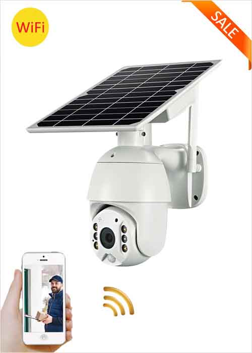 WiFi Solar PTZ Camera Wireless Solar Panel CCTV Camera 2MP Waterproof Outdoor Monitoring Network Cameras 360° Rotation Two Way Audio Night Vision Full Color PIR Alarm VF-S10