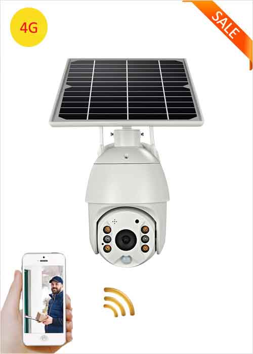 4G Solar Camera 2MP Wireless Outdoor Solar Panel Camera Battery Powered Security PTZ Monitor Cameras PIR Alarm 360° Rotation For Ranch Farm Fish Pond Orchard Courtyard Packing Lot VF-S10
