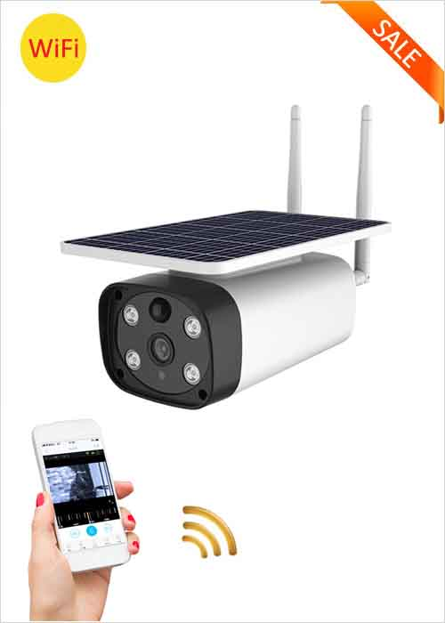 WiFi Wireless Solar IP Camera Outdoor Waterproof Solar Panel Camera Smart Home Security Two Way Voice Intrusion Alarm APP Remote Monitoring 1080P Night Vision Network Cameras VF-S8