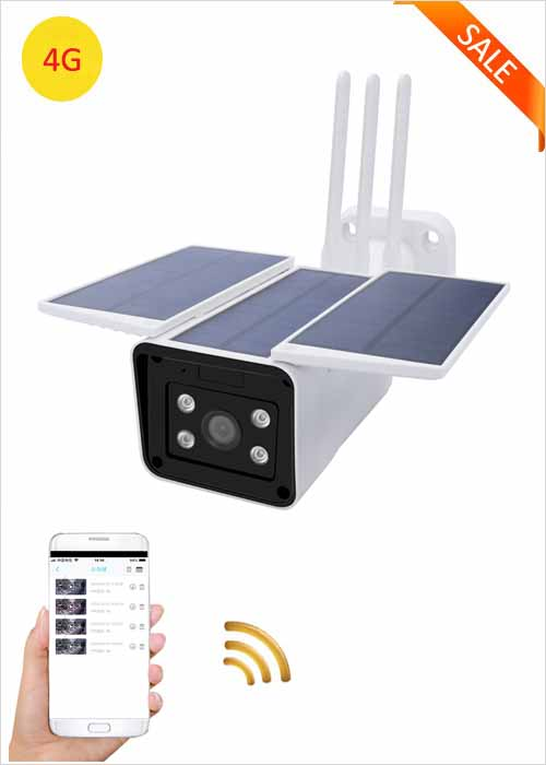 4G Solar Monitoring Camera Outdoor Low Power Built-in Battery IP Camera Day Night Full Color HD Night Vision Wireless Network Camera Mobile Remote Viewing Security Camera VF-S5