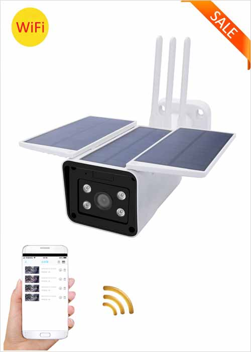 WiFi Solar Camera Wireless Low Power Network Camera Built-in Battery Solar IP Camera APP Remote Monitoring Video Viewing Alarm Alert HD Night Vision 1080P Home Security Camera VF-S5