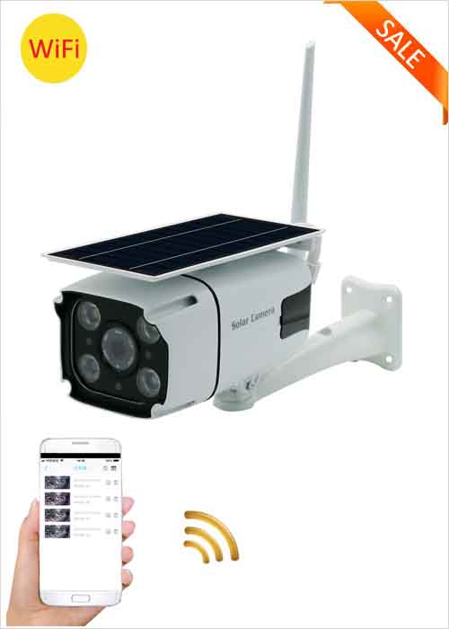 WiFi Solar Camera Built-in Rechargeable Lithium Battery IP Camera 2MP Outdoor Waterproof Network Camera Wireless Remote Monitoring Viewing Two Way Voice HD 1080P Security Camera VF-S6