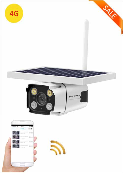 4G Solar Camera Built-in Rechargeable Lithium Battery IP Camera 2MP Outdoor Waterproof Network Camera Wireless Remote Monitoring Viewing Two Way Voice HD 1080P Security Camera VF-S6